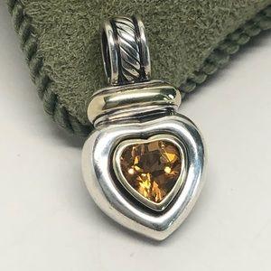 David Yurman Citrine Heart Pendant 925/14K